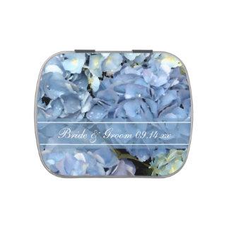 Blue Hydrangea Floral Wedding Favor Candy Tins