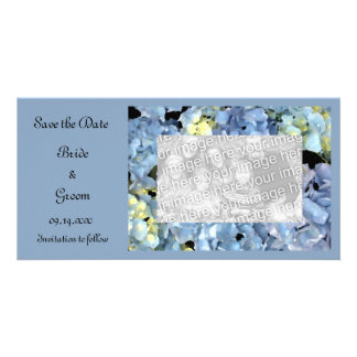 Blue Hydrangea Floral Wedding Save the Date Customised Photo Card