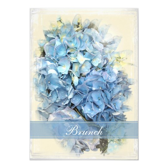 Blue Hydrangea Flower Post Wedding Brunch Invite