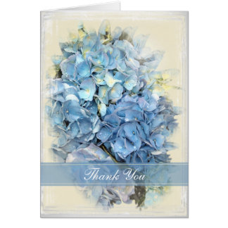 Blue Hydrangea Flower Thank You Card