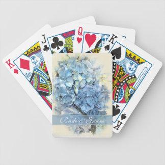 Blue Hydrangea Flower Wedding Bicycle Playing Cards
