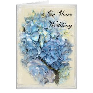 Blue Hydrangea Flower Wedding Day Greeting Card