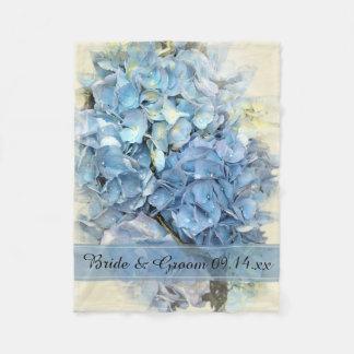 Blue Hydrangea Flower Wedding Fleece Blanket