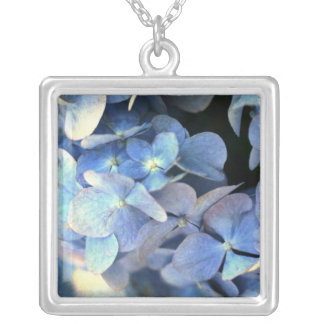 Blue Hydrangea Flowers Floral Flower Photo Silver Plated Necklace