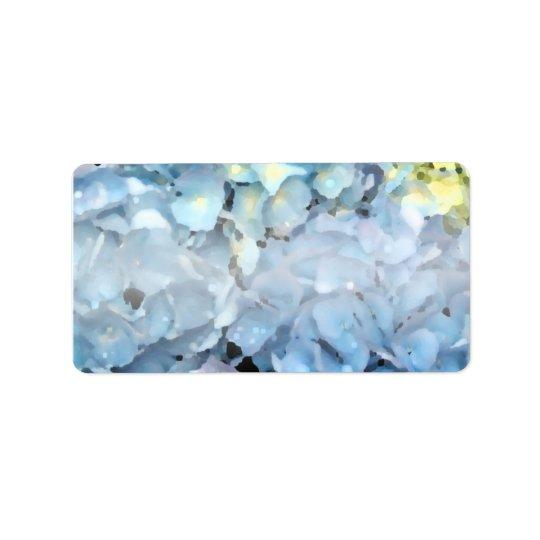 Blue Hydrangea Flowers Label