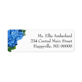 Blue Hydrangea Flowers Skinny Return Address Return Address Label