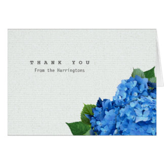 Blue Hydrangea Folded Personalized Thank You Notes