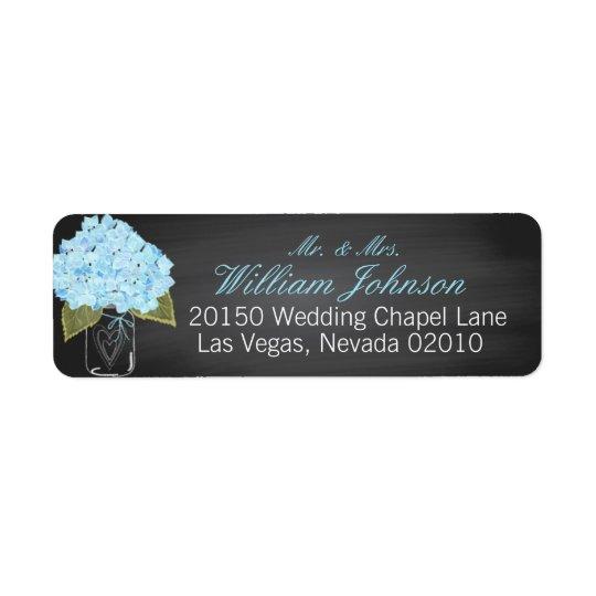 Blue Hydrangea Jar Chalkboard Wedding Label Return Address Label