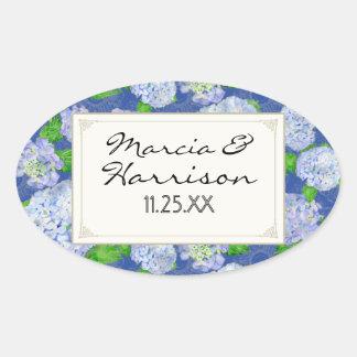 Blue Hydrangea Lace Floral Formal Elegant Weddings Oval Sticker