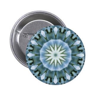 Blue Hydrangea Mandala Image 15 Pinback Buttons