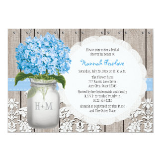 Blue Hydrangea Monogrammed Mason Jar Bridal Shower 13 Cm X 18 Cm Invitation Card
