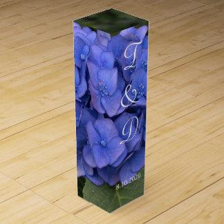 Blue Hydrangea Monogrammed Wedding Favors Wine Gift Box