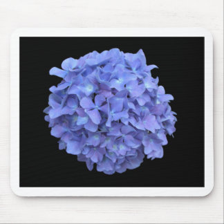 Blue Hydrangea on a Black Background Mouse Pads