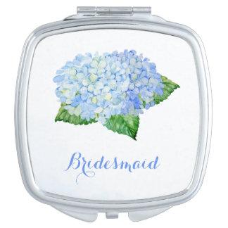 Blue Hydrangea Pretty Watercolor Compact Mirror