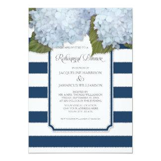 Blue Hydrangea Rehearsal Dinner Navy Stripe Modern 13 Cm X 18 Cm Invitation Card
