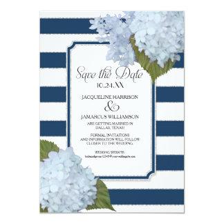 Blue Hydrangea Save the Date Wide Striped Floral 13 Cm X 18 Cm Invitation Card