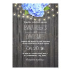 Blue Hydrangea & String Lights Barn Wood Wedding Invitation