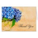 Blue Hydrangea Watercolor Mason Jar Thank You Greeting Card
