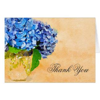Blue Hydrangea Watercolor Mason Jar Thank You Card
