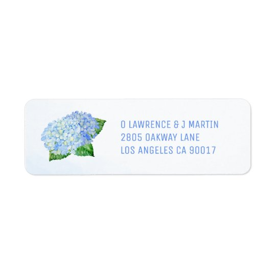 Blue Hydrangea Watercolor Return Address Label