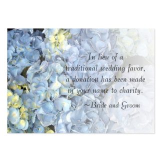 Blue Hydrangea Wedding Charity Favor Card Large Business Cards (Pack Of 100)