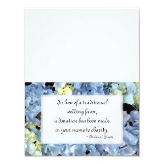 """Blue Hydrangea Wedding Charity Favor Card 4.25"""" X 5.5"""" Invitation Card"""