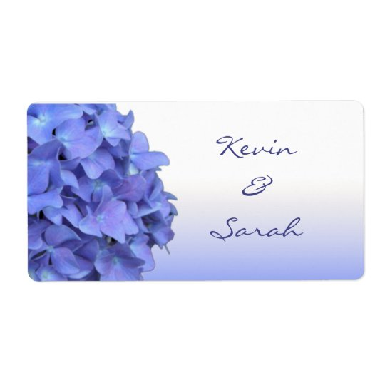 Blue Hydrangea Wedding Labels