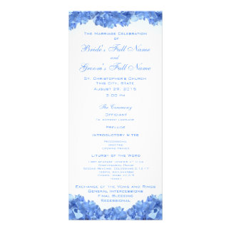 Blue Hydrangea Wedding Program Rack Card