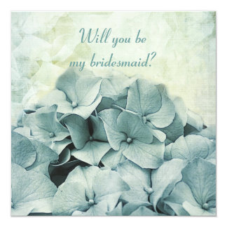 blue hydrangea Will you be my bridesmaid request Card