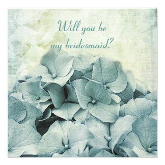 blue hydrangea Will you be my bridesmaid request Invite