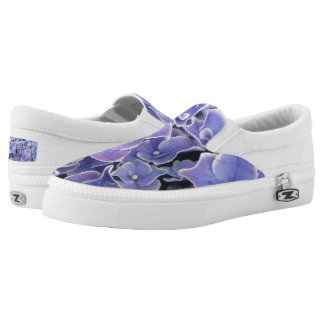 Blue Hydrangea with white border shoes Printed Shoes