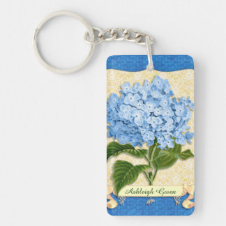 Blue Hydrangea Yellow Damask Banner Tile Cutouts Double-Sided Rectangular Acrylic Key Ring