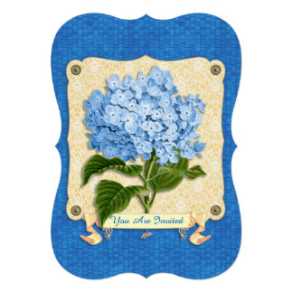 Blue Hydrangea Yellow Damask Banner Tile Cutouts Custom Invites