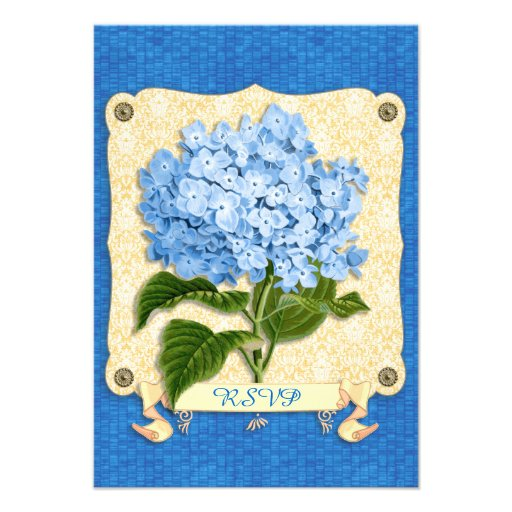 Blue Hydrangea Yellow Damask Banner Tile Cutouts Personalized Announcements