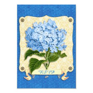 "Blue Hydrangea Yellow Damask Banner Tile Cutouts 3.5"" X 5"" Invitation Card"