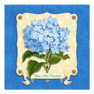 Blue Hydrangea Yellow Damask Banner Tile Cutouts Personalized Invitation