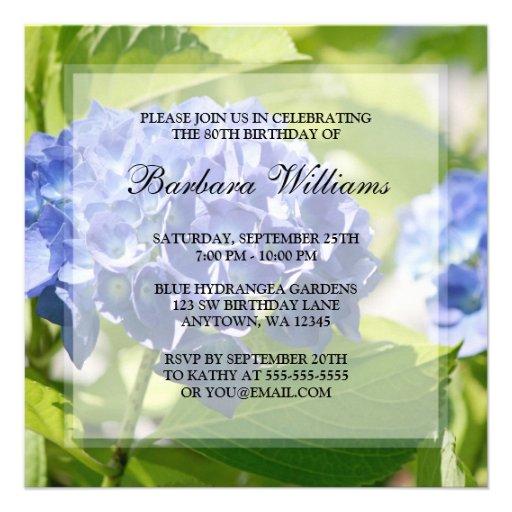 Blue Hydrangeas 80th Birthday Party Invitations