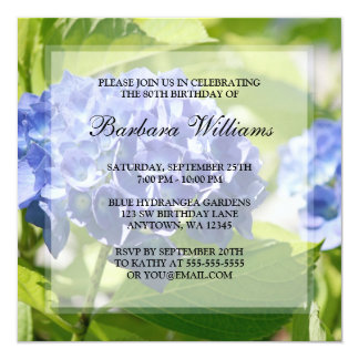 Blue Hydrangeas 80th Birthday Party Invitations