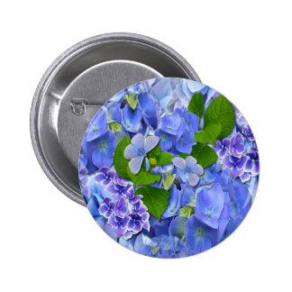 Blue Hydrangeas and Butterflies Buttons