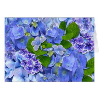 Blue Hydrangeas and Butterflies Card