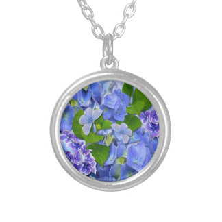 Blue Hydrangeas and Butterflies Silver Plated Necklace