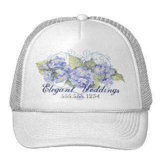 Blue Hydrangeas, Butterfly & Swirl Modern Floral Cap