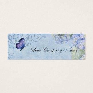 Blue Hydrangeas, Butterfly & Swirl Modern Floral Mini Business Card