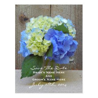 Blue Hydrangeas Mason Jar Save The Date Postcard