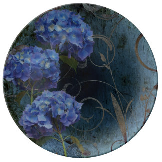 Blue Hydrangeas Porcelain Plate