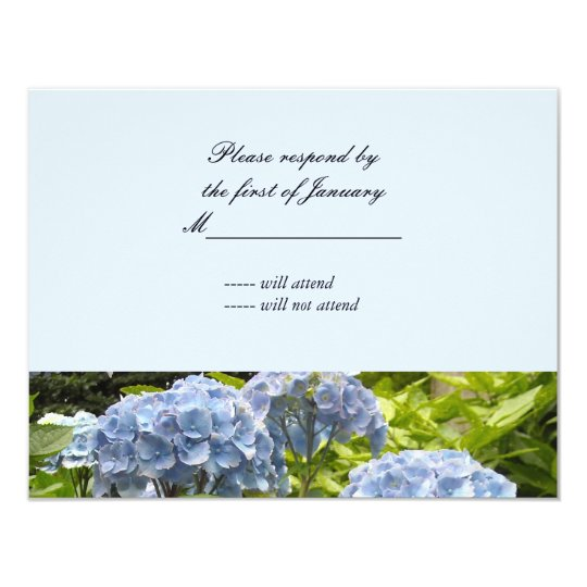 Blue Hydrangeas Reply Card