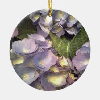 Blue Hydrangeas Round Ceramic Decoration