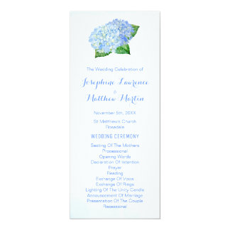 Blue Hydrangeas Watercolor Wedding Programs