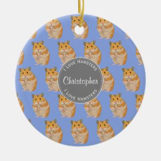 Blue I love Hamsters Hamster Pattern Ceramic Ornament