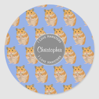 Blue I love Hamsters Hamster Pattern Classic Round Sticker
